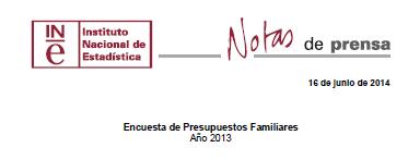 Enquisa  de presupostos Familiares Ano 2013